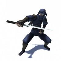 3d ninja assassin rigged animation character model
