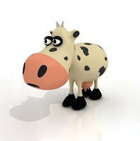 3d cartoon cow rigged model