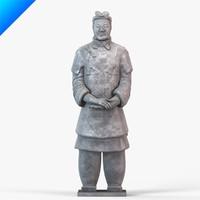 3d terracotta warriors senior officer model