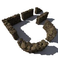 Stone - Rock Wall 10 - Mossy Dirty 3D Rock Wall