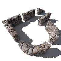 Stone - Rock Wall 8 - Mossy Dirty 3D Rock Wall