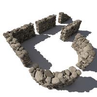 Stone - Rock Wall 3 - Grey Tan 3D Rock Wall