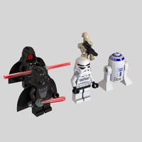 3d darth minifigure star wars model