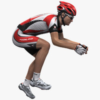 rigged bicycle rider 3d model