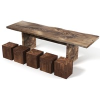 Hudson Furniture Rustic Teak Wood Dining table and  cube chair