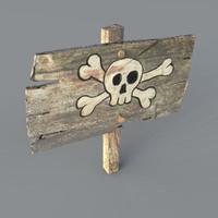 Old Wooden Danger Sign