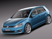 3d volkswagen golf vii 2013 model