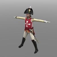 chevalier guard officer 3d model