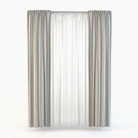 3d straight curtain tulle model