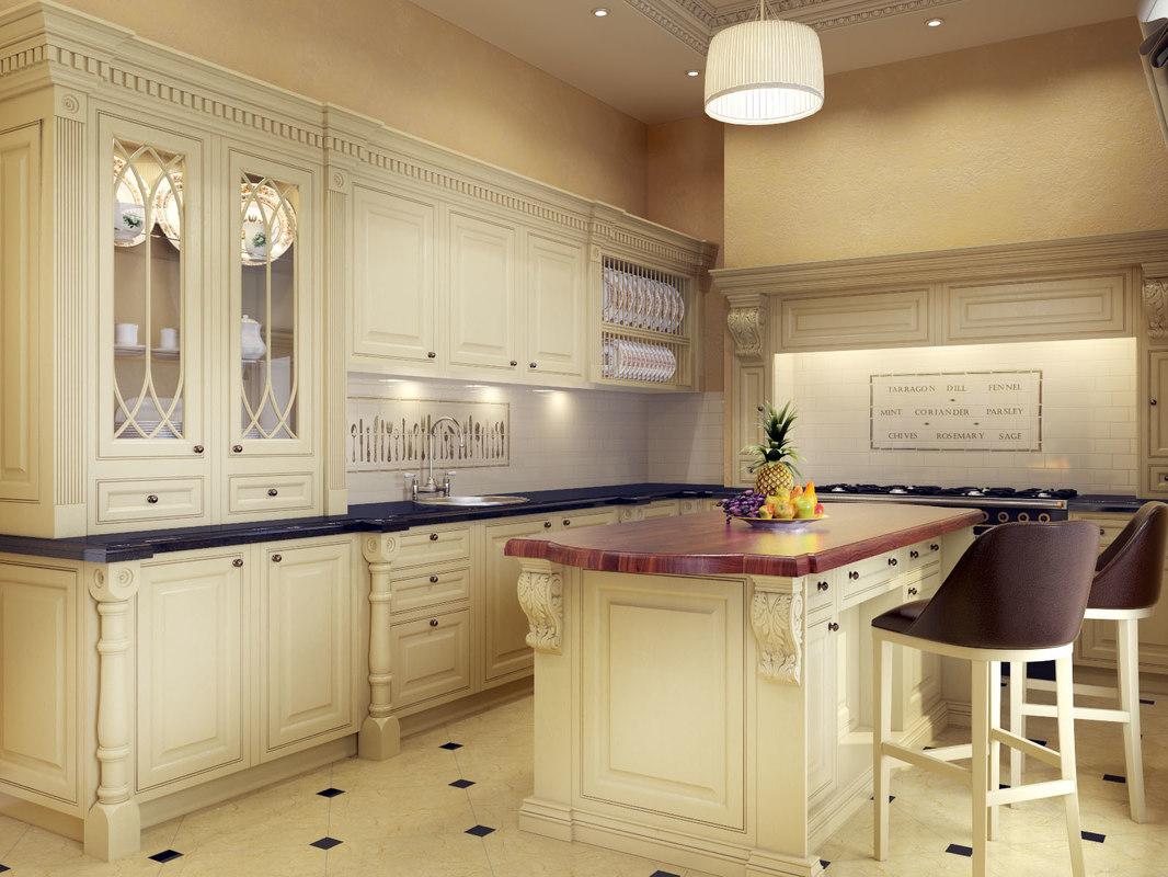 3d model classic kitchen on Kitchen Model  id=87703