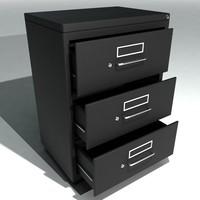 3d model set wide filing cabinets