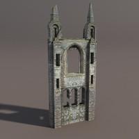 Castle Ruin - Tower Low poly 3d Model