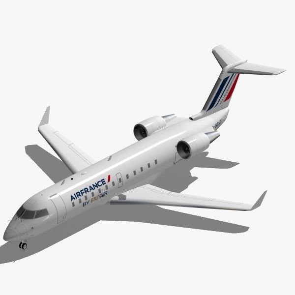 3d model bombardier jet crj-200 air france