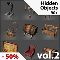 90+ Hidden Object Game Low-Poly 3D Models
