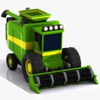 cartoon combine harvester 3d model