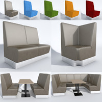 3d model booth seating aura