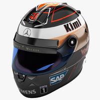 racing helmet mercedes 3d model