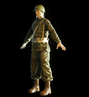 3d obj ww2 soldier