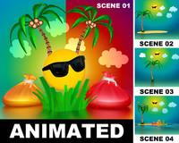 max scenes animation palm tree