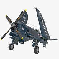 3d wwii fighter aircraft f4u corsair model