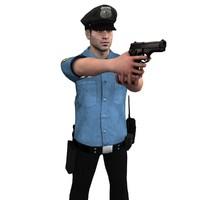 rigged police officer 3d model