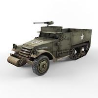 half-track m3 vehicle 3d model