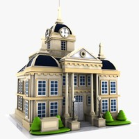 3d 3ds cartoon city hall