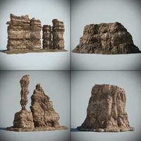 3d model of desert rocks