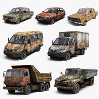 Russian Rusty Car Set