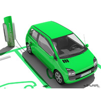 Electric Car and Charging Post