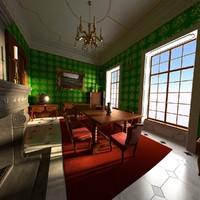 3d model baroque dining room