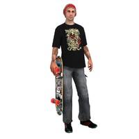 skater skateboard rigged 3d model
