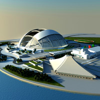 3d singapore national stadium model