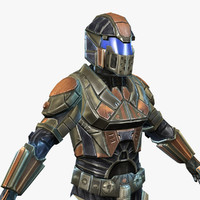 sci-fi armor male character 3d 3ds