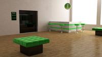 3d bank interior furnitures model