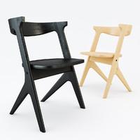 3d model oak chair slab