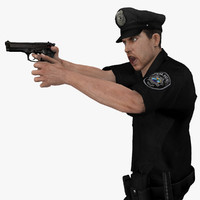 3d model rigged police officer