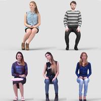 3D Human Model Vol. 2  Casual Sitting People