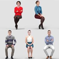 3D Human Model Vol. 2  Business Sitting People