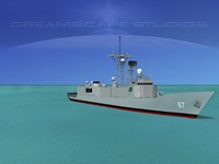perry class frigates uss 3d model