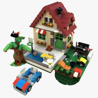 3d lego changing season house model