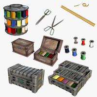 3d set sewing tools model