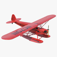 Light Aircraft Piper J-3 Seaplane Rigged Red