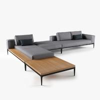 3d coffee table grid sofa model