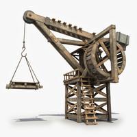 3d model old wooden crane