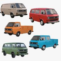 3d model t3 pickup volkswagen