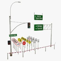 3d traffic road signs street elements