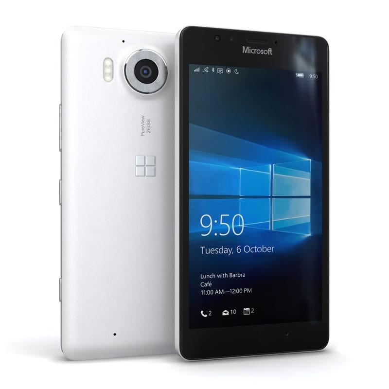 3d microsoft lumia 950 white