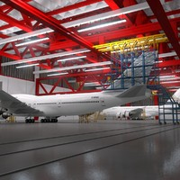 Aircraft Maintenance Hangar Scene