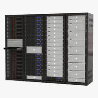 3d model generic server racks set